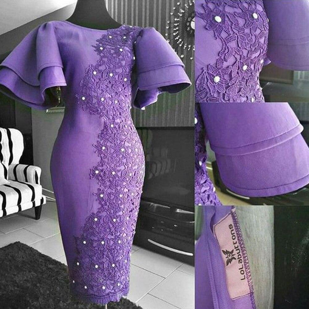 purple prom dresses 2019 short sleeve lace appliques ...