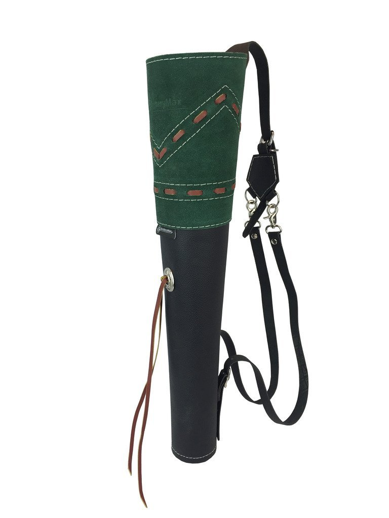 ФОТО ArcheryMax Traditional High-grade Green Suede Back Arrow Pot Quiver,Three Fixed-back Archery Product for Hunting(19.7 Inches)
