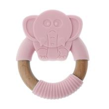 цена Premium New Baby Teether Baby Silicone Elephant Teether Safe Toddle Organic Wood Chew Toys Teething Ring For Infant Baby Gifts в интернет-магазинах