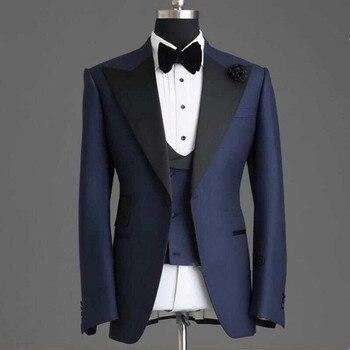 98d6058e5 De alta calidad a medida boda trajes para hombres pico solapa Slim 3 piezas  (chaqueta + chaleco + Pantalones) novio novio de boda Boda de baile trajes