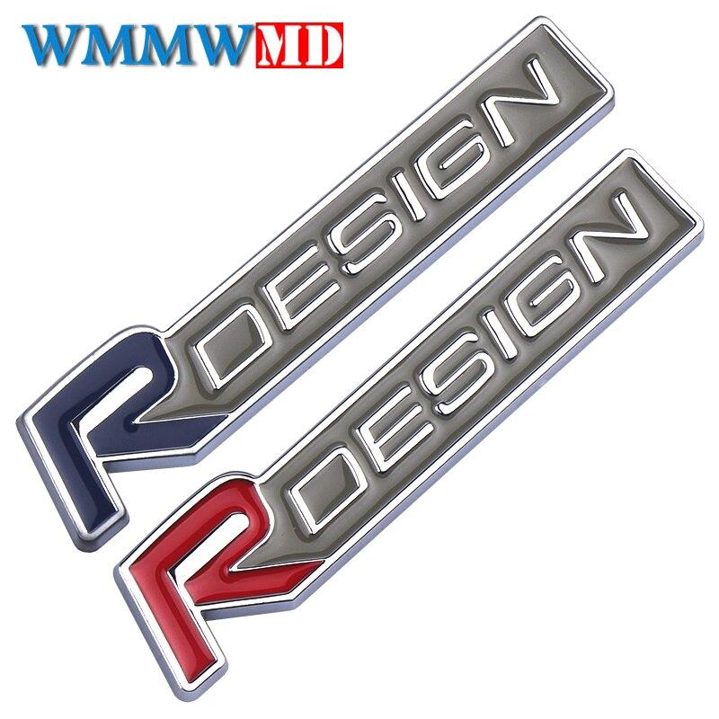 Car Styling 3D Metal Zinc Alloy R DESIGN Letter Emblems Badges Car Sticker Decal For Volvo RDESIGN V40 V60 C30 S60 S80 S90 XC60