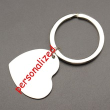 Romantic Heart Shaped Customized Stainless Steel Keychain