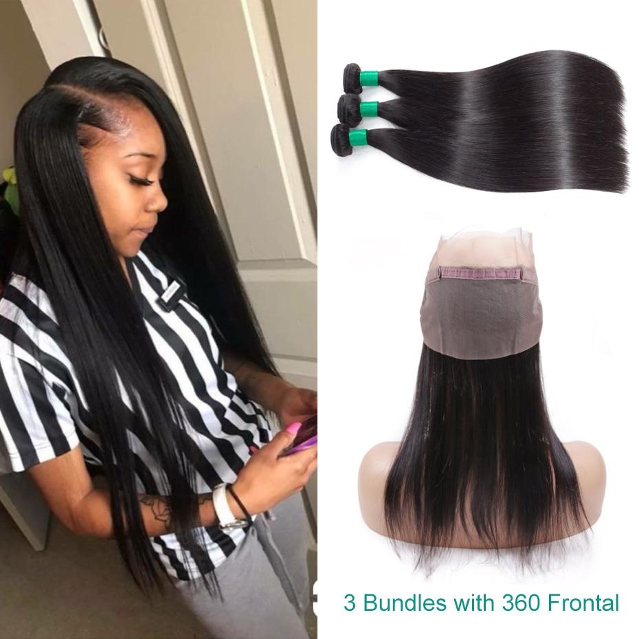 Gabrielle Peruvian Human Hair Weave Bundles with Frontal Straight Hair 3 Bundles with 360 Frontal Non-remy Hair extension 4pcs