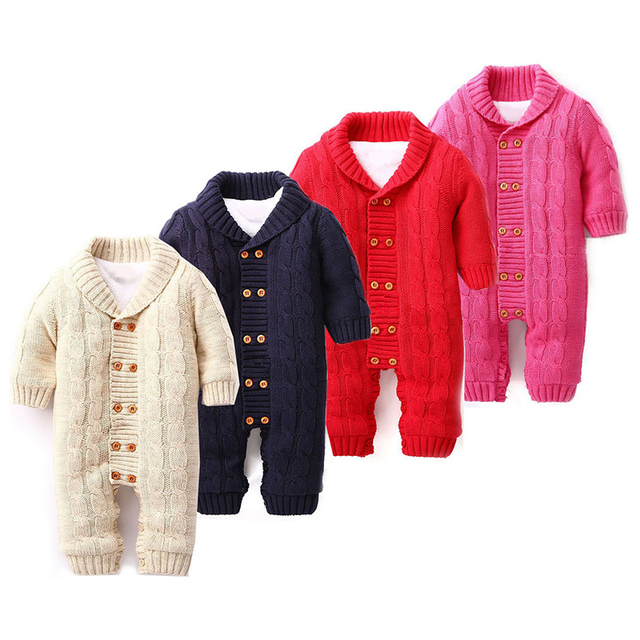 Bebé recién nacido Mamelucos Infantiles Guardapolvos Invierno Gruesa Fleece Suéter de Algodón Trajes de Doble Botonadura Muchacha Del Muchacho de los Niños Del Mameluco Del Mono