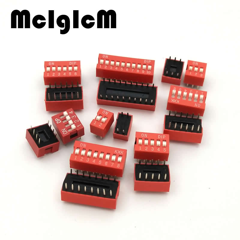 цена 10pcs DIP Switch Slide Type Red 2.54mm Pitch 2 Row DIP Toggle switches 2p 3p 4p 5p 6p 8p 10p Free Shipping