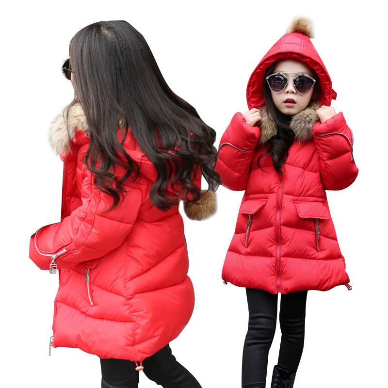 OLEKID Winter Jacket For Girls Brand Casual Hooded Thick Warm Girl Parka 4-13 Years Kids Outerwear Coat For Teenage Girls 2018 winter down jacket for girls thick long warm hooded girls winter coat 5 14 years children parka teenage girls outerwear