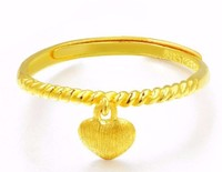999 Solid 24K Yellow Gold Ring / Women's Lucky Craved heart Ring