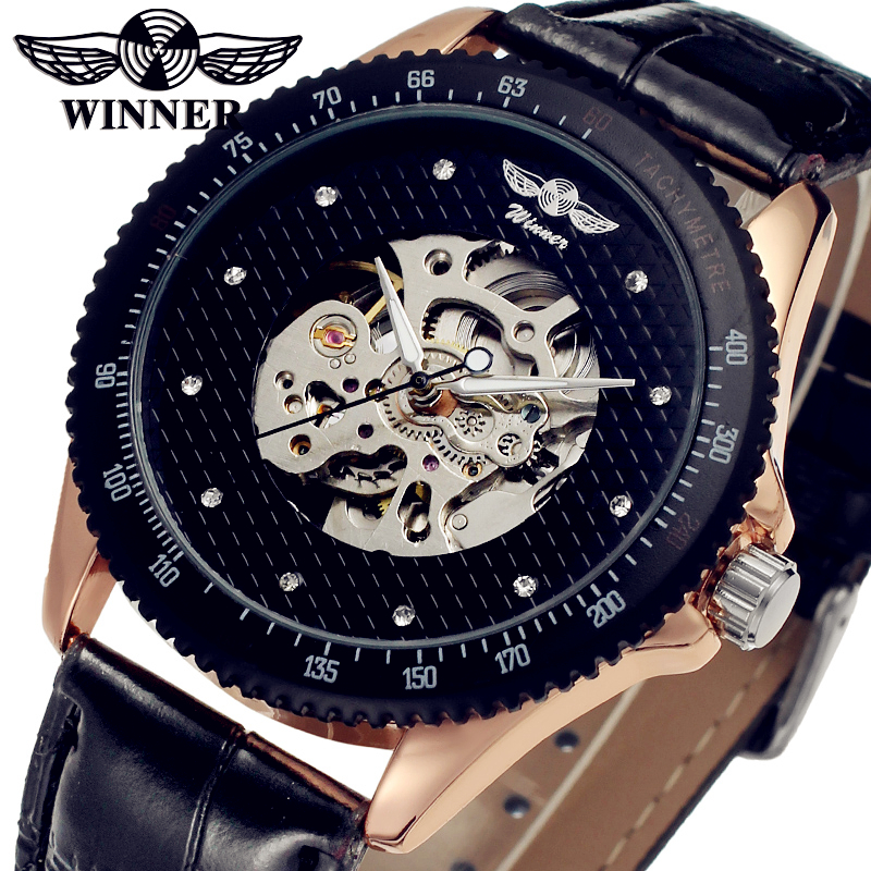 WINNER Men Luxury Brand Black Skeleton Genuine Leather Band Watch Automatic Mechanical Wristwatch Gift Box Relogio Releges 2016 2016 luxury wristwatch black leather belt male automatic watch men s sports watch black face