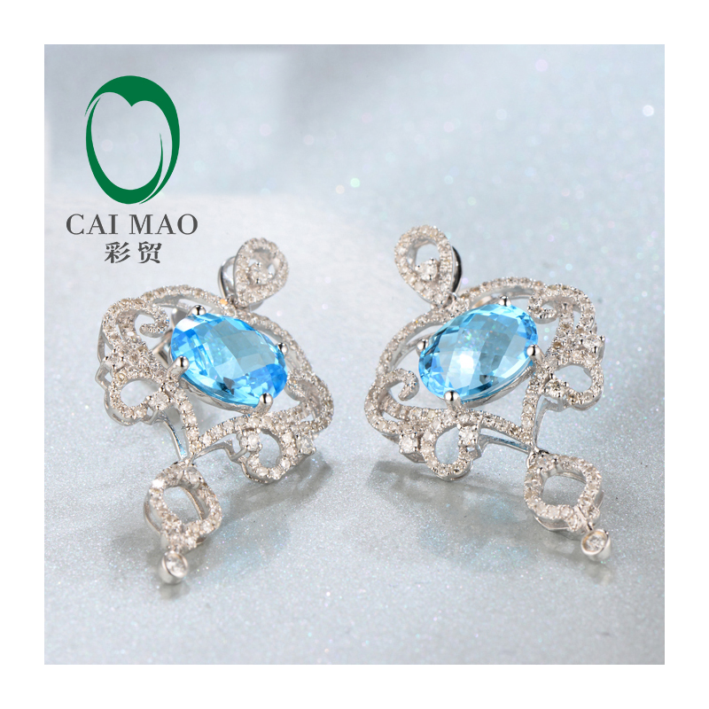 Free shipping 7x9mm Oval Cut 4.52ct Natural Flawless Blue Topaz Diamond 14kt White Gold Charming Earrings pair of charming rhinestone oval star earrings for women