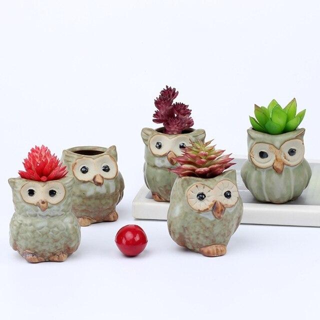 Fashion Design 5Pcs Cute Owl Ceramic Succulent Planter Miniature Flower  Plant Pots Office Decor JUN16