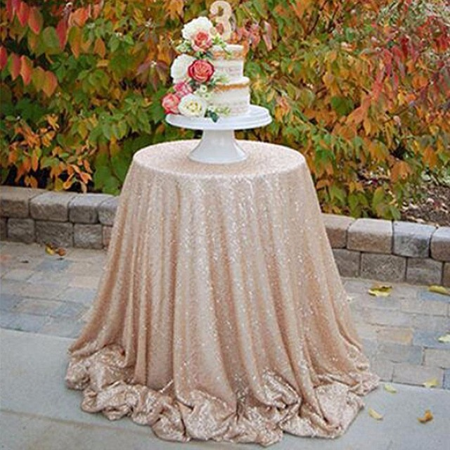 Beau 72 Inches Sequin Table Cloth Champagne Sequin Glitter Tablecloth Round  Tablecloth Table Cover For Wedding Party