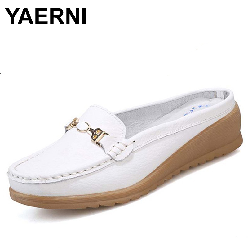 YAERNI Leisure Slippers Genuine Leather Women Wedges Sandals Slip-on Round Toe Spring Shoes Woman Comfortable Sandals BFS3680 gktinoo summer shoes woman genuine leather sandals open toe women shoes slip on wedges platform sandals women plus size 34 43