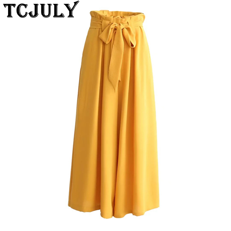 TCJULY Streetwear Cotton Solid   Wide     Leg     Pants   Bow Sashes Decorate Loose Casual   Wide   Trousers Ladies High Waist Full Length   Pants