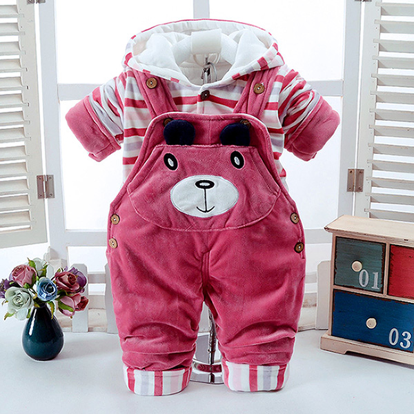 Autumn Winter Cartoon Thicken Long Sleeve+Suspender Trousers 0-2 Years Baby Infant Boy And Girl 2 Pieces Children's Clothes