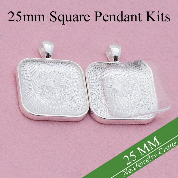 25mm Square Pendant Setting Blank Pendant Tray Matching Glass Cabochons
