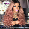8A Fashion hot Brazilian virgin hair wig Full lace human hair wigs black women Dark to pink ombre wigs two tone ombre cheap wigs