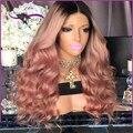 8A Moda caliente Brasileño de la virgen del pelo peluca Llena del cordón pelucas de cabello humano negro mujeres Oscuro a rosa pelucas ombre dos tonos ombre pelucas baratas
