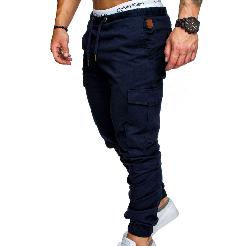 Brand Male New Fashion 2018 Slim Solid Color Pocket Decoration Men Casual Pants Man Trousers Designer Mens Joggers