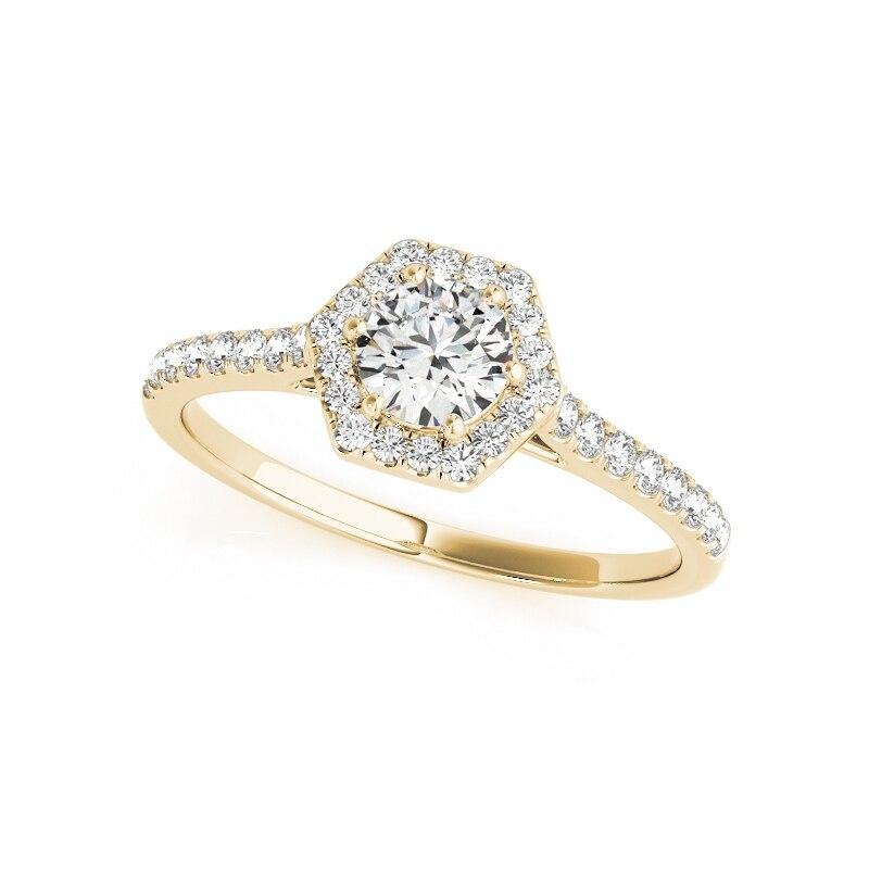 QYI Donna Design Unico Simulato anello di nozze di Diamante 14 k oro Giallo Anniversario di Fidanzamento Halo Anelli - 2