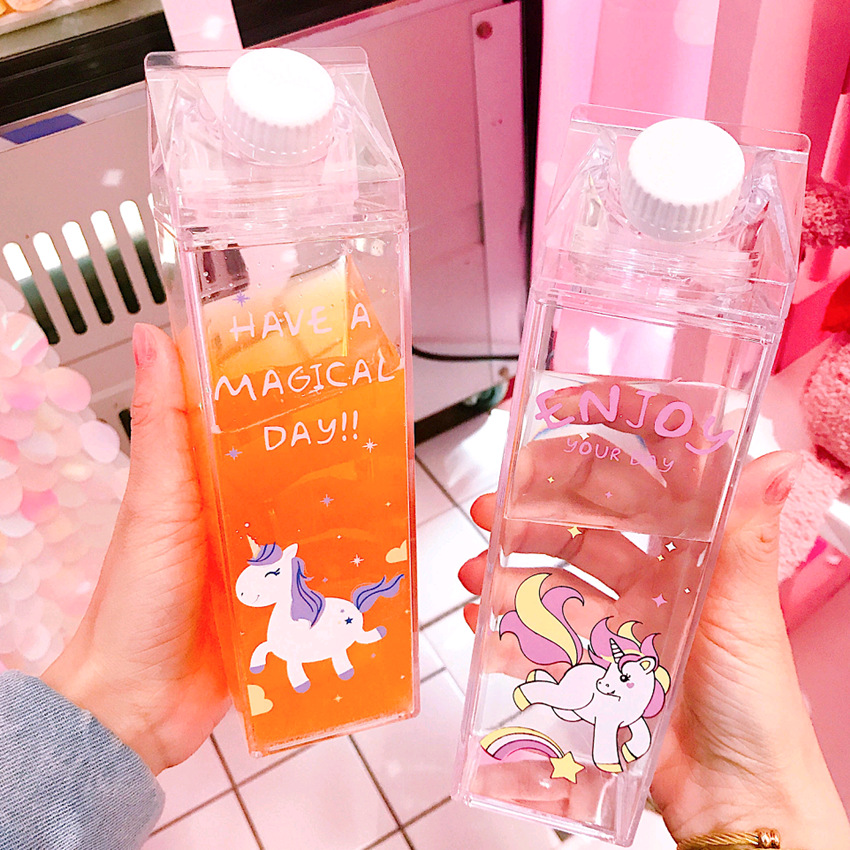 500ml Kids Cute Rainbow Unicorn Water Bottle Sport Garrafa De Agua Plastic Shaker Portable My Drinking Bottle for Water Bottle,Q image
