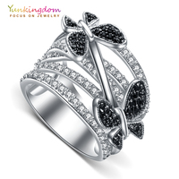 Yunkingdom Butterfly Flower Vintage Rings For Women Cubic Zirconia Banquet Party Charms Ring M0375