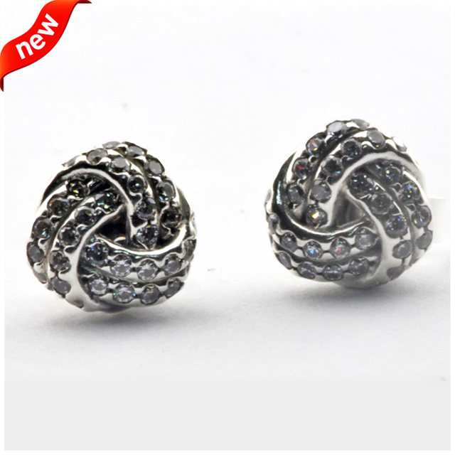 Stud Earrings 925 Sterling Silver Infinite Love DIY Compatible With European Style Jewelry Original DIY Charm CKK