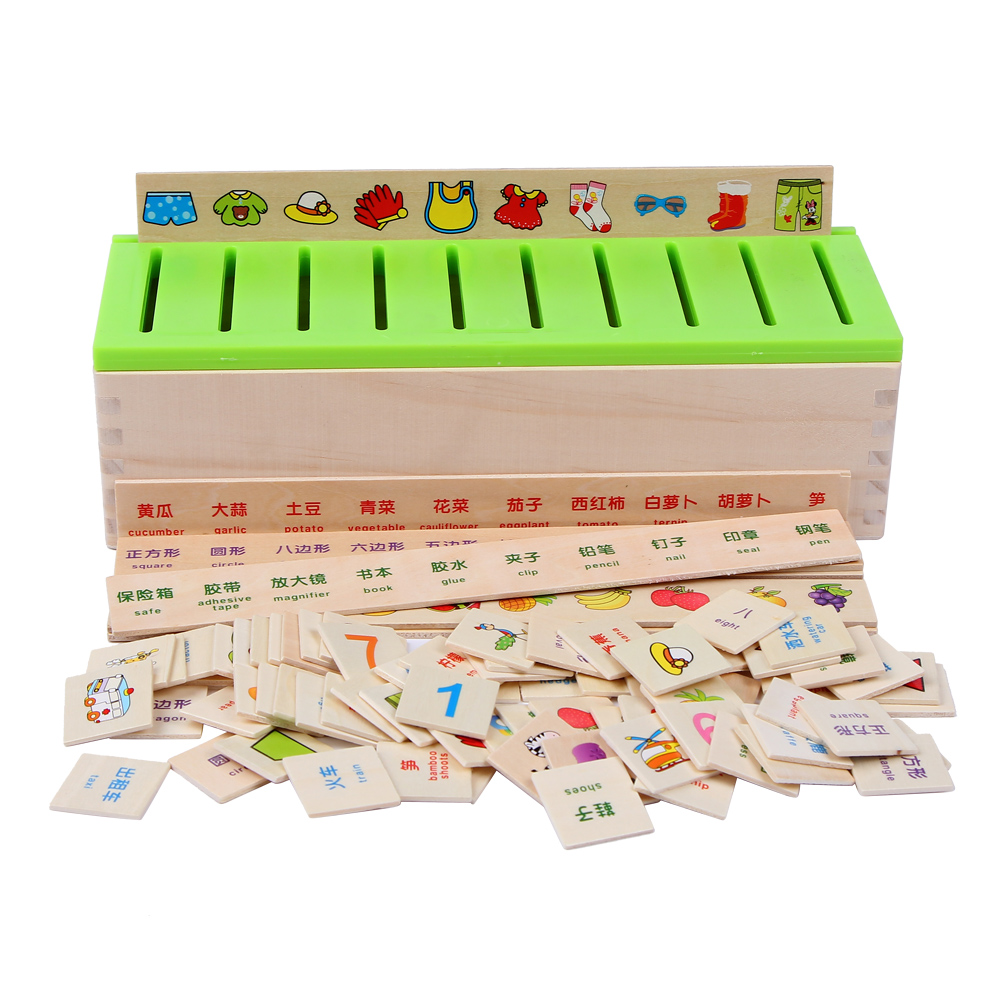 Children Montessori Puzzle Learning Toys Knowledge Classification Box Wooden Toys Educational Number And Animal Drop Shipping
