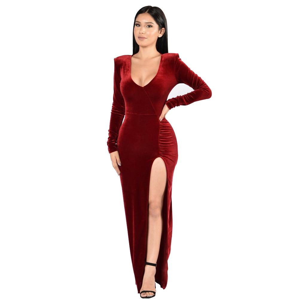 Elegant Sexy Woman Evening Party Dresses Velvet Long