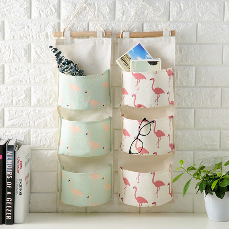 Cotton Linen Wall Suspension type 3-Pocket Hanging Organizer Storage Bag 4Colors