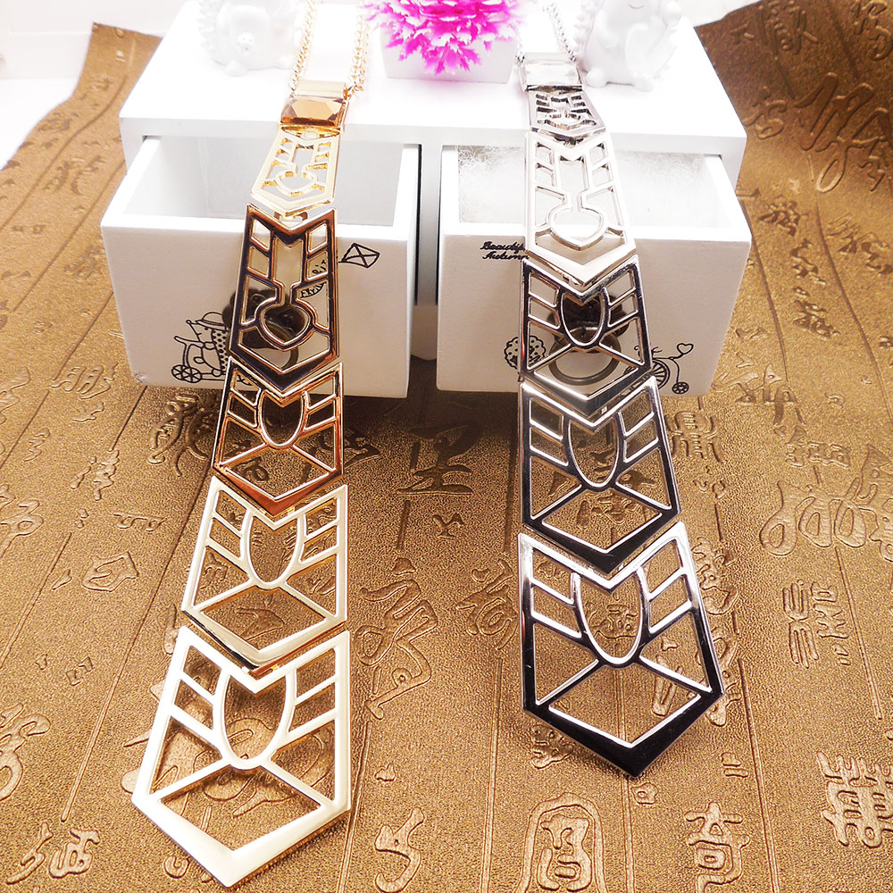 Fashion Neck Tie Pendants high quality Long Silver Chain Choker Collar Necklace Women Wedding Bridal Jewelry special necklace