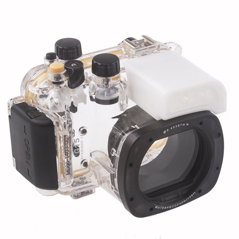 Meikon Underwater Diving Camera Waterproof Housing Case For Canon G15 as WP-DC48 40m 130ft waterproof diving underwater dslr camera housing case for canon g9x