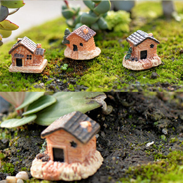 3Pcs DIY Micro Fairy Garden Figurines Kawaii Wood Board House  Miniatures/terrarium Doll House Decor