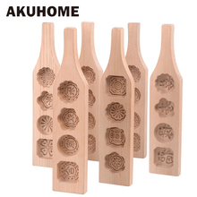 1 PCS wood chocolate baking mold,cookies mold,3D flower Fondant Cake Tools, Decorating kitchen accessories