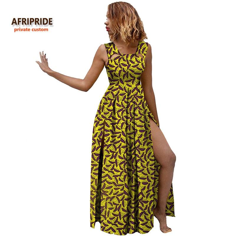 2018 جديد afrivide الخاص مخصص شاطئ الإناث اللباس الجانب المفتوح زائد الحجم مثير الصيف البوهيمي اليدوية القطن فستان ماكسي A722552