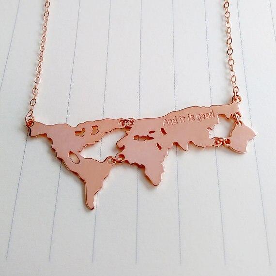 9fb1a9b7b1bc Personalizada collar de mapa del mundo de la tierra de la Madre Tierra  joyería de Día