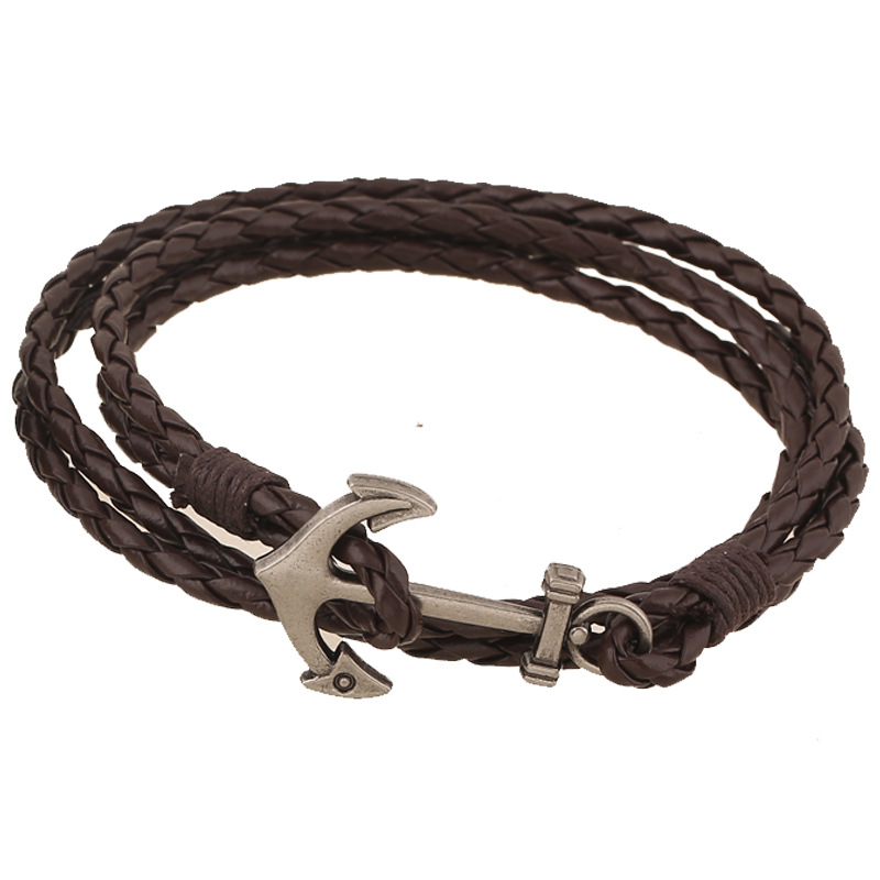 2017 Fashion Jewelry Hot 43cm Pu Leather Bracelet Men Anchor Bracelets For Women Best Friend Gift Free Shipping Multilayer In Strand From