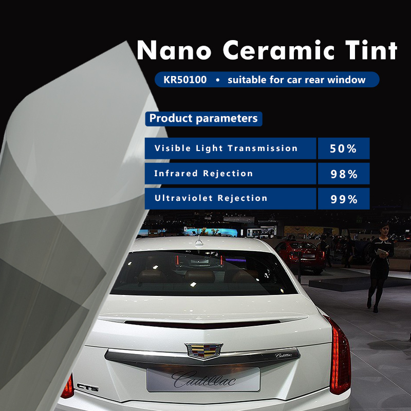 4mil thickness Self Adhisive Solar Control Nano Ceramic Window Tint Film KR50100 with 1.52x10m(60inx33.33ft) 50x152cm safety film 4mil thickness transparent security glass protective tint film for window bathroom glass shatter proof