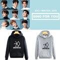 Мода осень зима kpop exo флис толстовка с капюшоном 2016 зима петь для вас печати любителей пуловеры толстовка плюс k-pop sudaderas
