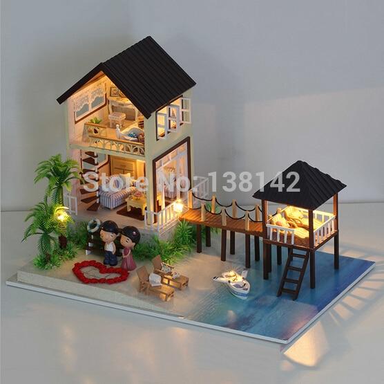 A027 Large Dollhouse Miniature Diy Handmade Maldives Wooden Doll