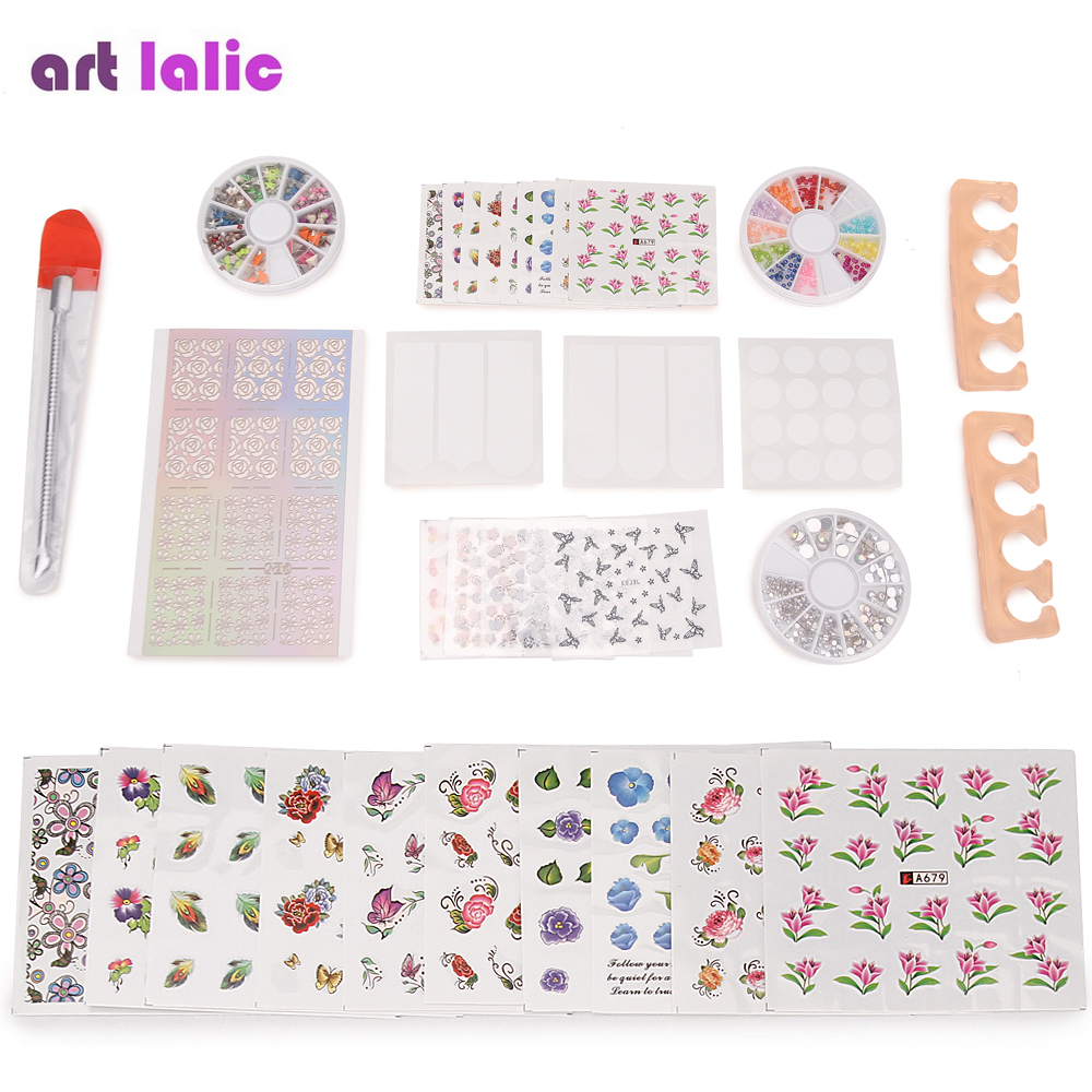30 Pcs Professional Manicure Nail Water Transfer Stickers Decals Rhinestones Separator Stencil Stainless Steel Cuticle Set kit yzwle 1 sheet fashion 3d design daisy flower watermark nail decals diy water transfer nail stickers manicure tools