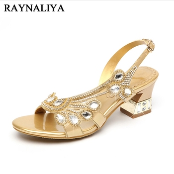 Genuine Leather Women Banquet Prom Party Shoes Summer Rhinestone Sandals Open Toe Chunky Heel Strappy Wedding Shoes XMX-A0037