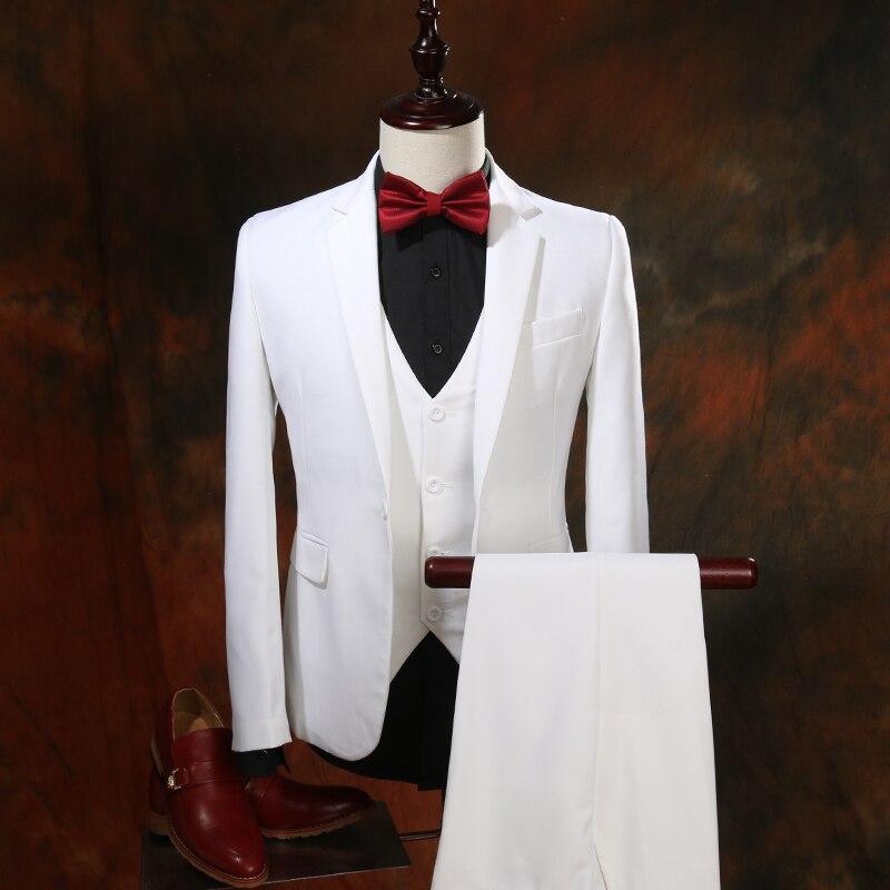 White Wedding Suits Men's Blazers Slim Fit Fashion Brand Male Tuxedos Groom Prom Formal Jacket+Pants+Vest 3 PCS M-5XL