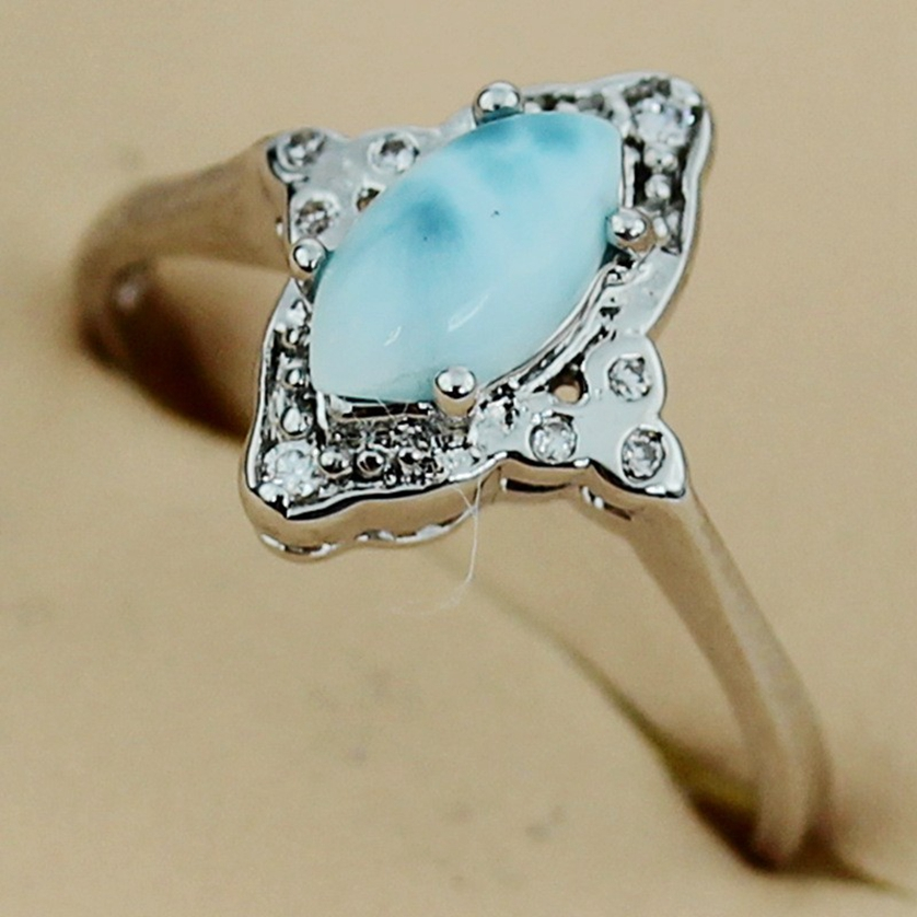 Fleure Esme Noble Women Larimar women engagement ring Silver Plated R3526 sz# 6 7 8 Favourite Best Sellers Time limited discount