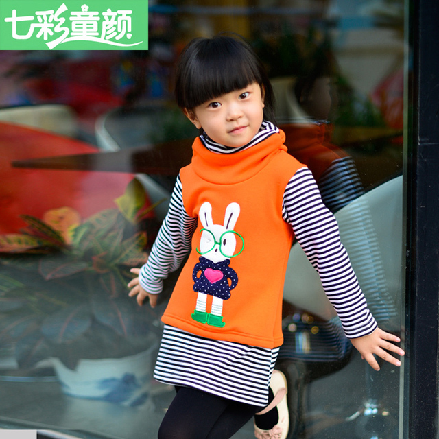 2016 Autumn  Winter Girl's Hoodies Sweatshirts Cartoon Stripe Coat Sweater Fashion Render Upper Garment