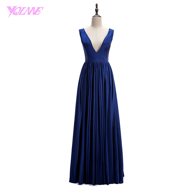 YQLNNE Cheap Sexy Deep V Neck Prom Dresses Long Dark Blue Taffeta Party Dress Real Photos