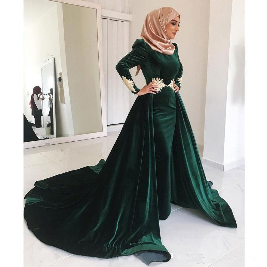 Green Muslim   Evening     Dresses   2019 Mermaid Long Sleeves Velvet Lace Islamic Dubai Saudi Arabic Long   Evening   Gown Prom   Dress