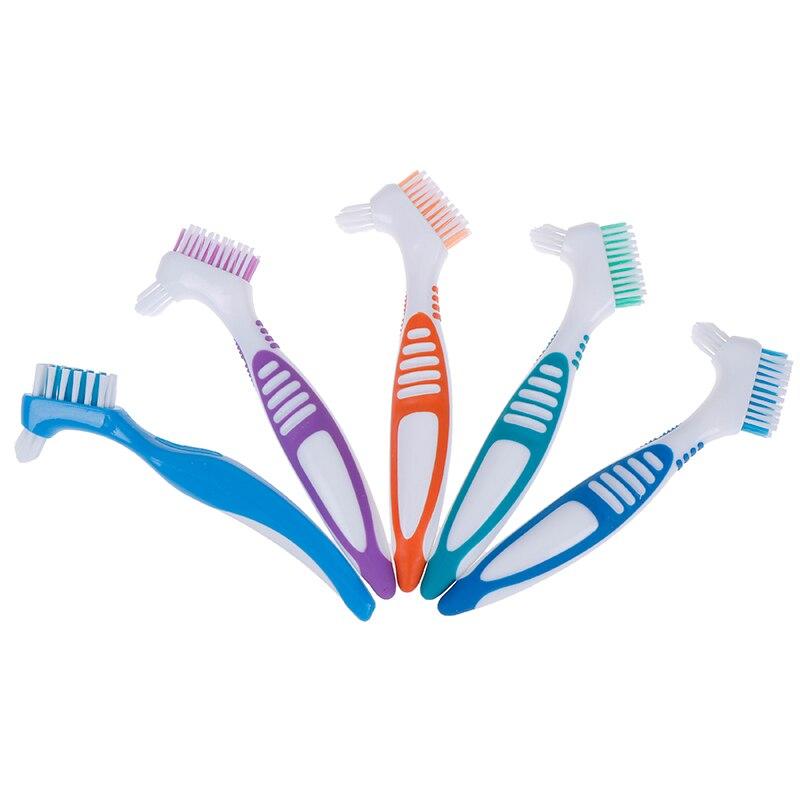 Multi-Layered Bristles False Teeth Brush Oral Care Tool Bristles & Ergonomic Rubber Handle Denture Cleaning Brush(China)