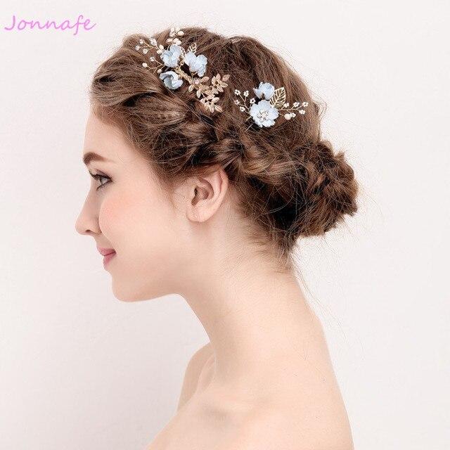 Jonnafe Blue Flower Hair Comb Bridal Pins Pearls Wedding Jewelry Hair Vine Accessories Women Headpiece