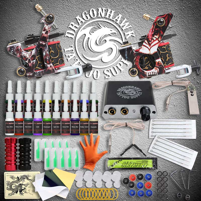 Beginner Tattoo Kits 2 Guns Machines 20 Ink Sets Power Supply Needle Pedal Tips D175GD professional tattoo kits liner and shader machines immortal ink needles sets power supply