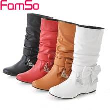 Plus Size34-43 2014 New Fashion Women Autumn Boots Rhinestone  High Boots platforms  Wedges Shoes Winter Snow Boots SBT1026